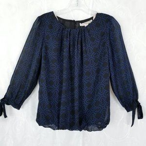 Forever 21 Sz S 3/4 Sleeve Pleated Neck Blue/Blk